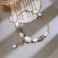 Arrival 14k Gold Filled Baroque Natural Freshwater Pearl Moonstone Female Bracelet Promotion Jewelry for Women Wedding
