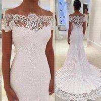 Vestidos De Noiva 2021 Lace Mermaid Wedding Gowns Sheer Back Off Shoulder Bridal Ddress Short Sleeve Second Reception Dresses Plus Size AL8990
