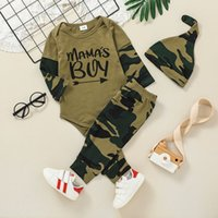 Baby Clothing Set Camouflage Romper+Pants+Hat Outfits Fall 2021 Children Boutique Clothes 0-2T Toddler Boys Cotton Long Sleeves 3 PC Suit