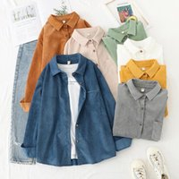 Harajuku Corduroy Jackets Women Winter Autumn Coats Plus Size Overcoats Female Big Tops Cute Solid Color Clothing Women's Blouses & Shirts