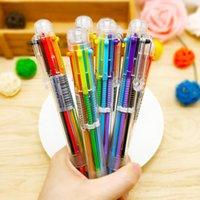 2021 1カラフルなペンの新しい目新しさ6の単純な固体多機能多色ボールペン学生の文房具のカラフルな詰め替えペン