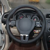 Handgenähtes schwarzes Leder-Lenkradabdeckung für Volkswagen VW Golf Tiguan Passat B7 CC Touran Magotan