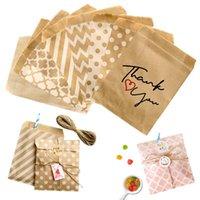 Envoltura de regalo 25/50 / 100pc Tratamiento bio-degradable Bolsa de caramelo Favoritos Favoritos Bolsas de papel Chevron Polka Dot Stripe Imprimir Craft Panadería