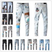 2021 Erkek Tasarımcı Kot Pantolon Sıkıntılı Slim Fit Motosiklet Biker Erkekler Için S Moda En Kaliteli Marka 8 Renkler Denim Pantolon