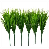 Decorative Flowers Wreaths Festive Party Supplies & Garden6Pcs 15 Inch Artificial Plastic Wheatgrass Faux Shrubs Simation Greenery Plants In