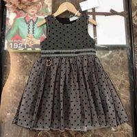 2021SS 아기 소녀 드레스 캐주얼 DO 디자이너 옷 어린이 레이스 드레스 여름 소녀 부티크 의류 민소매 스커트 중국 직접 고양이 로고 인쇄 DI23