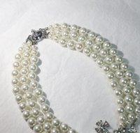 متعدد الطبقات اللؤلؤ سلسلة مدار قلادة المرأة أزياء حجر الراين الأقمار الصناعية قلادة قصيرة هدية حزب جودة عالية مجوهرات