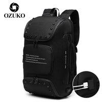 Sac à dos anti-vol d'Ozuko Homme Homme Chargements USB Chargements de transport portable sacs de poche mâle avec poche à chaussures sac à dos imperméable 210309