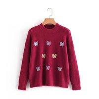 Suéteres de mujer coreano 3d mariposa mujeres suéter causal manga larga o-cuello punto top top saltadores 2021 invierno tirón femme algodón poliéster