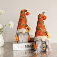 Party Supplies Halloween Decorations Pumpkin Plush Doll Thanksgiving Fall Harvest Festival Decoration Gnomes Elf Dwarf Dolls Desktop Ornaments Free DHL HH21-633