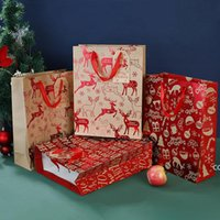 Рождественские подарочные обертки крафт-пакеты Xmas ассорти бумаги сумка с ручками для вечеринки придайте DHA8836