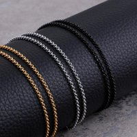 Cruz Round Box Chains Necklaces 2mm Gold Silver Black 2021 Stainless Steel Wholesale Fashion Jewelry