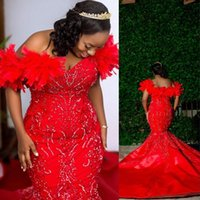 2021 Dark Red Luxury Arabic Aso Ebi Sexy Prom Dresses Off Shoulder With Feather Mermaid Long Crystal Beaded Bling Evening Gowns Plus Size Party Dress Chapel Train