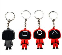 New Squid Game Soft PVC Keychain Pendant Same Style Key chains Doll Chain Masks Character Gift Round Triangle Square Boss Mask with key ring