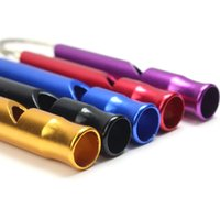 Factory Colors Mini Aluminum Alloy Whistle Keyring Mix For Outdoor Emergency Survival Safety Keychain Sport Camping Hunting
