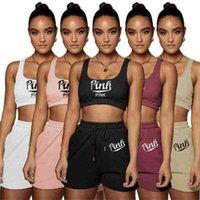 Spor Takım Elbise Yaz Kadın Eşofman İki Parça Setleri Sling Yelek Kısa Üst + Şort Katı Renkli Mektup Moda Tasarımcıları Giysileri G47Jehu