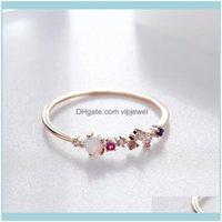 Anneaux de grappe Bijoux Highigh Quality Opal Stone Coloré Bague Cubic Zircon pour Femmes Rose Couleur Or Couleur unique Drop Drop Drop Drop 2021 ZWLKG