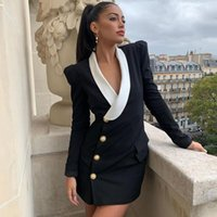 Casual Dresses Ocstrade Black Long Sleeve Blazer Dress 2021 Runway Women Fashion Rivet Bodycon Sexy Night Club Evening Party