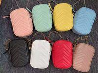 Çift Mektup G Moda Telefonu Kutusu Mini Çanta Ayrılabilir Askı Zincir Toka 8 Corlors Pembe Mavi Yeşil Siyah Beyaz Kırmızı Sarı Kadınlar Klasik Crossbody Çanta Cep Telefonu Kılıfı