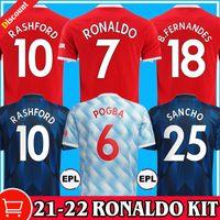 Ronaldo 21 22 Sancho Rashford Jerseys 2021 2022 Manchester Pogba Cavani Martial Shaw Van de beek B. Fernandes United Greenwood Utd Football Shirt Homme Kit Kit