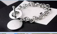 2021 silver thick chain Charm Bracelets with ring round plate stainless steel material unisex available IN STOCK high quality Luxury coming box and dust-bag