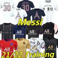 Messi The Lates Soccer Jerseys 21/22 MBappe Kean Icardi Di Maria Marquinhos 2021 2022 훈련 폴로 Pre-macth 셔츠 축구 jesey maillots de foot camisetas futebol