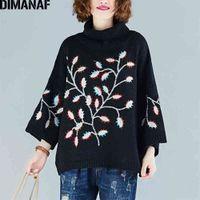 Dimanaf Plus Размер женщины свитер свитер пуловеры вязание водолазки мода вышивка цветы свободные повседневные женские леди одежда LJ201017