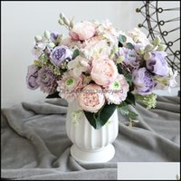 Festive Party Supplies Gardenbouquet Peony Fake Flower 5 Big Head 4 Small Bud Bride Rose Silk Wedding Home Decoration Decorative Flowers & W