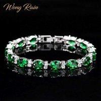 Wong lluvia bohemia 100% 925 plata esterlina esmeralda zafiro rubí amatista gema brazalete brazalete pulsera joyería fina al por mayor G0916