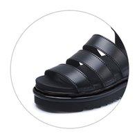 Luxury designer gladiator sandals women black summer causal shoes comfortable genuine leather buckle dr martin platform sandals size 35-40