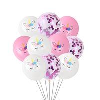 10 pçs / lote 12inch rosa branco unicórnio de látex balões unicórnio decoração confetti balão festa de aniversário decoração bebê chuveiro crianças brinquedo