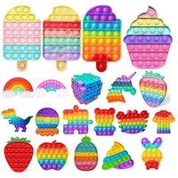Rainbow Fidget Toys Push Bubble Sensory Squishy Strishy Relefante Suministros de fiesta Autismo Necesita Juguete Anti-Estresa para Niños Adultos Reutilizables Squeeze Board Games