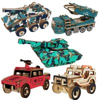 2021 fun toysSmall Jeep laser cutting puzzle toy model 3D stereo DIY wooden recordingfor children