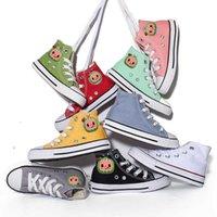 20-38 EU Tamaño completo Niños para niños Top Top Top Lienzo Zapatillas de deporte Lace Up Flat Shoe COCOMELON Dibujos animados de caucho Casual Caminar Calzado deportivo Boys Girls Big Niño Sneaker G76DUNX