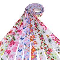 """5/8 """"Wärmeübertragung Floral Foe Falten Sie ein elastisches gedrucktes Blumenband für DIY-Haar-Krawatten-Zubehör Willkommen Benutzerdefinierte Reihenfolge."""