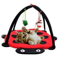 Cat Beds & Furniture Foldable House USB Constant Temperature Heating Tent Dog Kennel Sofa Sleeping Play Mat Blanket With Hanging Toys