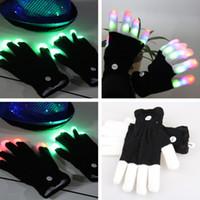 LED قفازات فلاش خمسة أصابع ضوء شبح الرقص الأسود بار المرحلة الأداء الملونة الهذيان ضوء إصبع إصبع قفازات توهج اللمعان CF1517