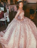 Rose Gold Sequins Quinceanera Dresses Long Sleeves 2022 Scoop Neckline Prom Luxury Beaded 3D Floral Applique Ball Gown Custom Made Vestidos Formal Evening Wear