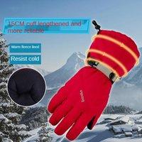 Ski Gloves Five-Finger Winter With Long Cuffs Non-Slip Waterproof Wind-Proof Wear-Resistant Full-Finger