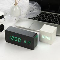 LED Wooden Alarm Clock Watch Table Voice Control Digital Wood Despertador Electronic Desktop USB AAA Powered Clocks Table Decor 210421