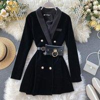Women's Suits & Blazers Fashion 2021 Arrival Women Velvet Blazer Black Autumn Double Breasted With Belt Bag Female Jacket Coat Office Ladies