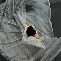 Cluster Anéis Silvologia 925 Prata Esterlina Preto Coração Side Bead Elegante Coréia Estilo Luxo Minimalista para Mulheres Festival Jóias