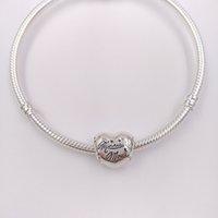 925 Joyas de plata esterlina Fabricación de la venta de la venta Pandora Disny Meny Mouse Signature Charms Cadena Blanco Pulseras para el corazón Collar para las mujeres DIY 7501057370329P