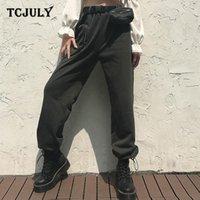 Calças femininas capris tcjuly 2021 design streetwear engrossar moletom com cinto sólido alto cintura casual calças aquecidas outono inverno wome