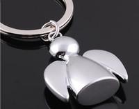 Design criativo encantador cadeia presentes titular anjo key mulheres saco anel carro 500pcs homens encanto casamento chaveiro pingente decbo