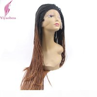 Yiyaobess Black Brown ombre Broaying Dentelle Dentelle Perruque Synthétique Cheveux Synthétiques Afrique Américaine Long Micro tressé Perruques pour femmes