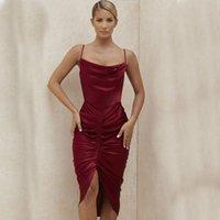 Сексуальная тонкий сатин спагетти ремешок платье женщин складки спинки сплошные цветные платья 2021 летнее новое поступление старинные вечеринки ночное платье
