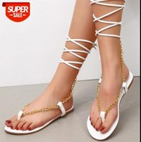 European and American large size women's sandals Africa sexy metal chain anklet straps flat #Ju0c