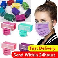 Hızlı Teslimat Tek Kullanımlık Yüz Maskesi 3 Katmanlar Çok Renkler Toz Geçirmez Yüz Koruyucu Kapak Maskeleri Anti-Toz Salonu Earloop Ağız Maskesi Parti Maskeleri Toptan CT24W