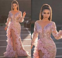 2021 Aso Ebi Mermaid Prom Dresses Long Sleeves Side Split Ruffles Pink lace sequins Evening Gowns V Neck vestido de novia
